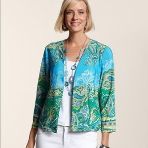 Chico's Paisley Open Front Lightweight Jacket
